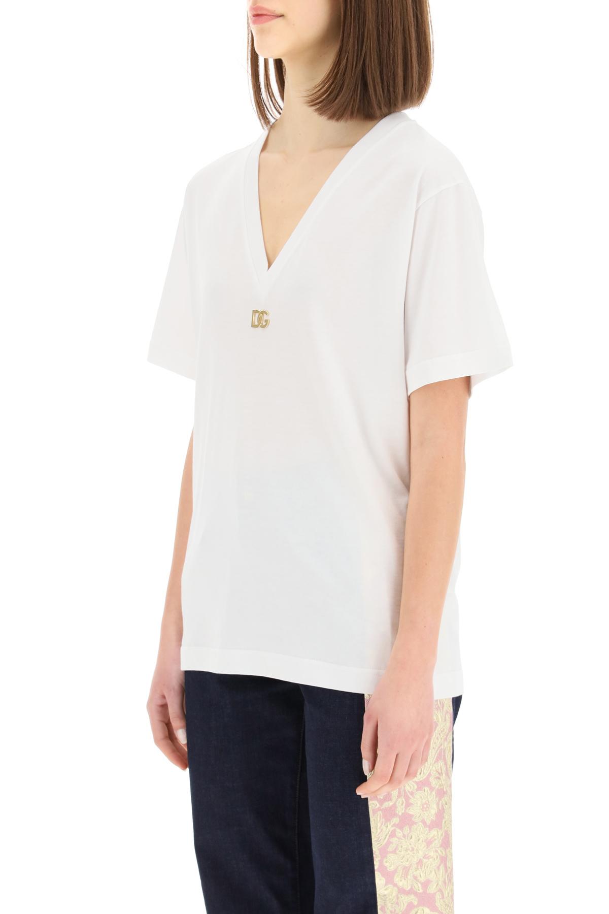 Dolce & gabbana t-shirt scollo a v con logo dg metallico