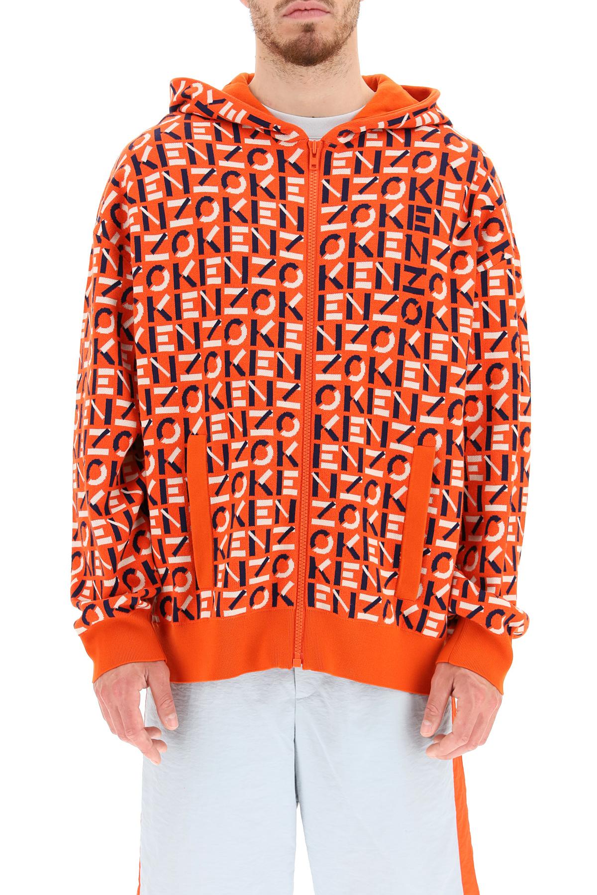 Kenzo giubbino jersey zipped monogram jacquard