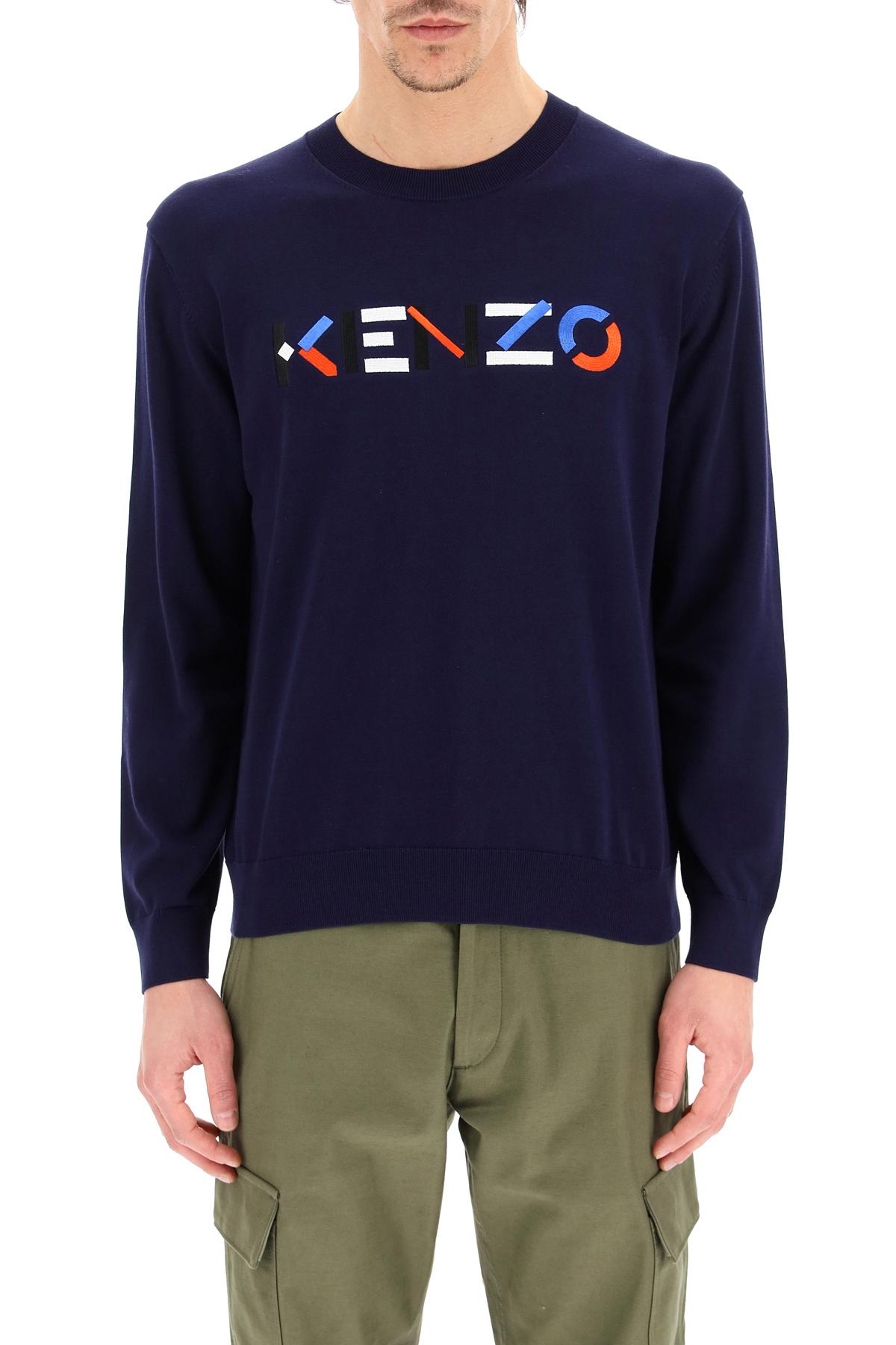 Kenzo pullover ricamo logo multicolor
