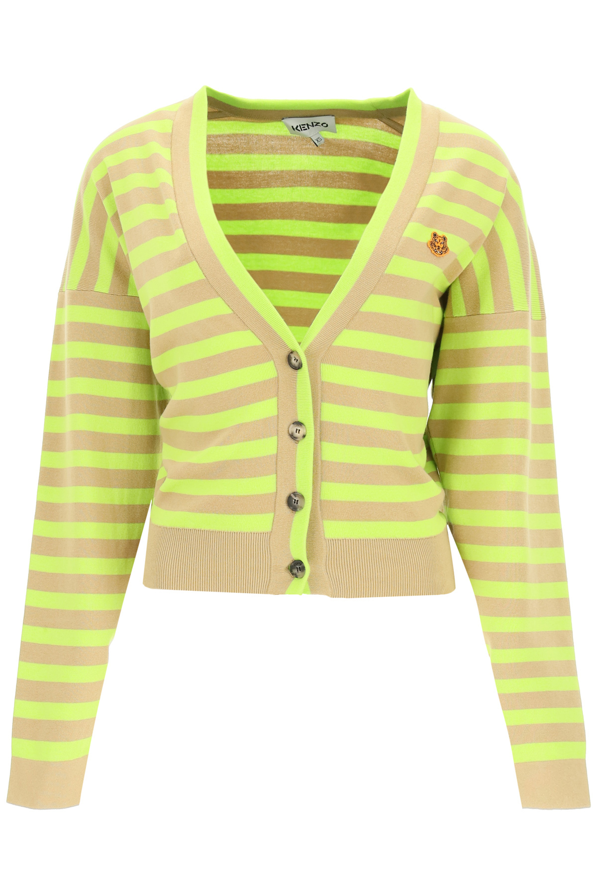 Kenzo cardigan a righe con tiger patch