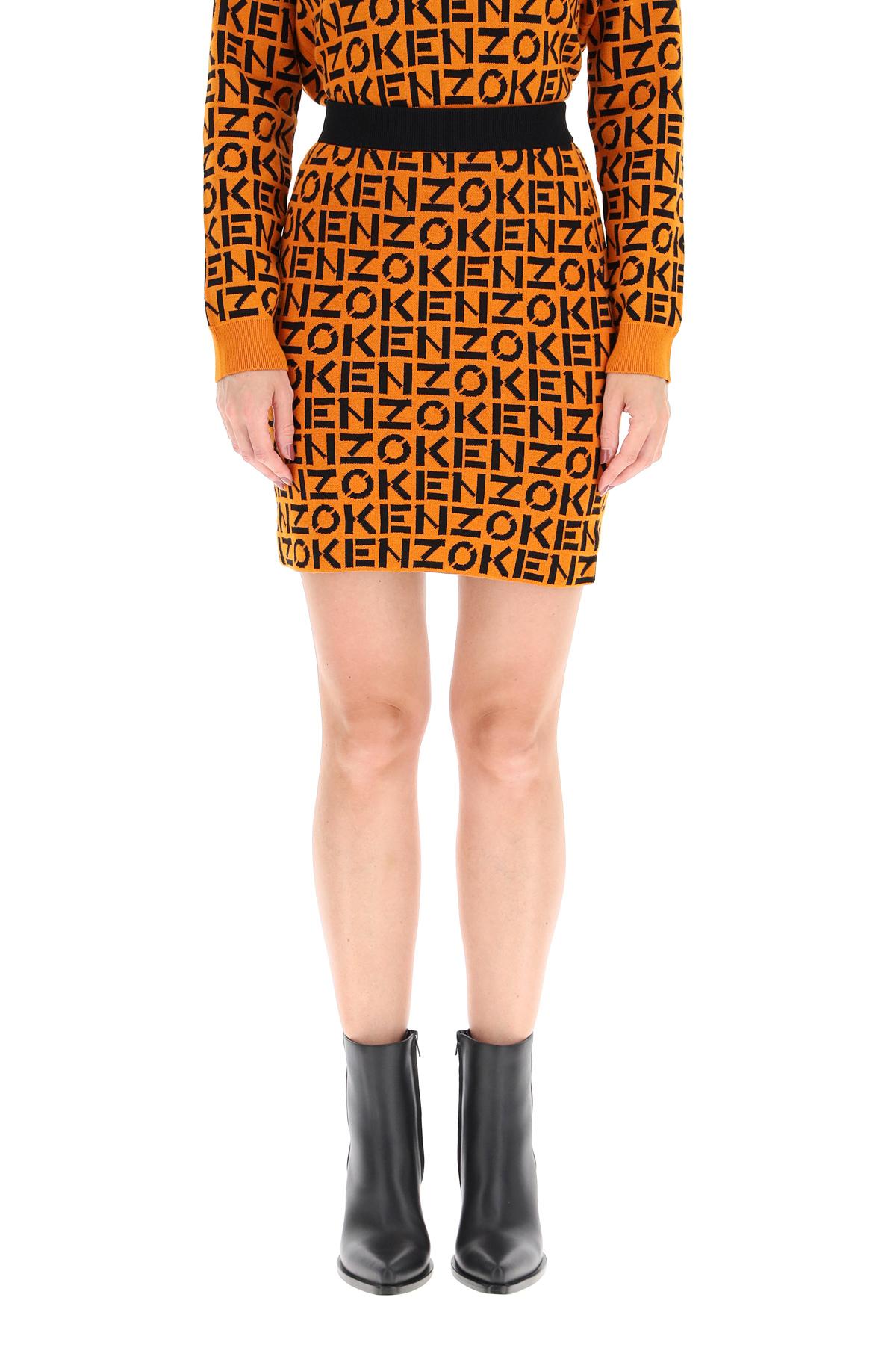 Kenzo mini skirt con logo all over