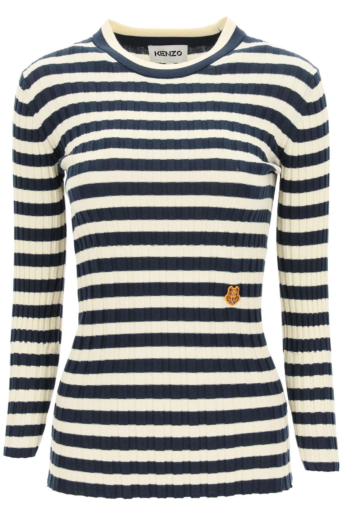 Kenzo maglia a righe patch tiger crest