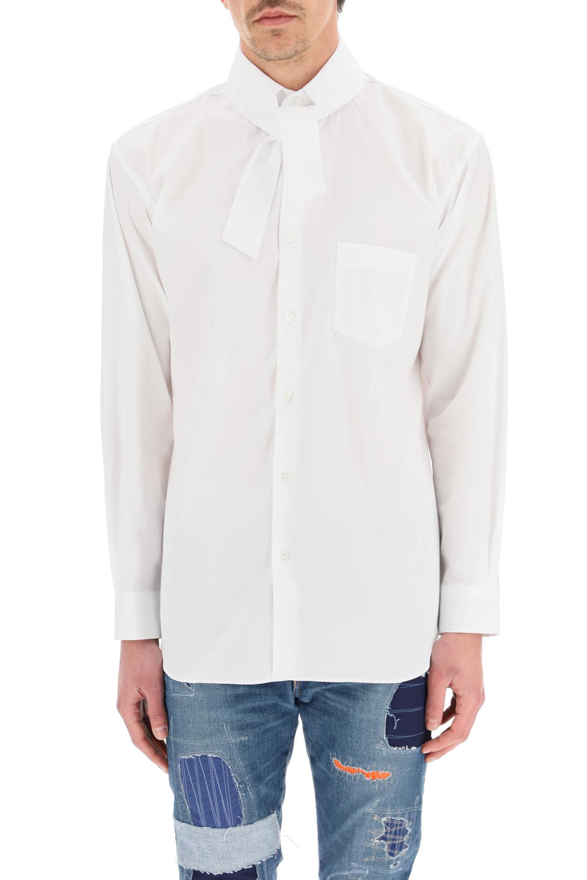Comme des garcons shirt camicia popeline con colletto annodabile