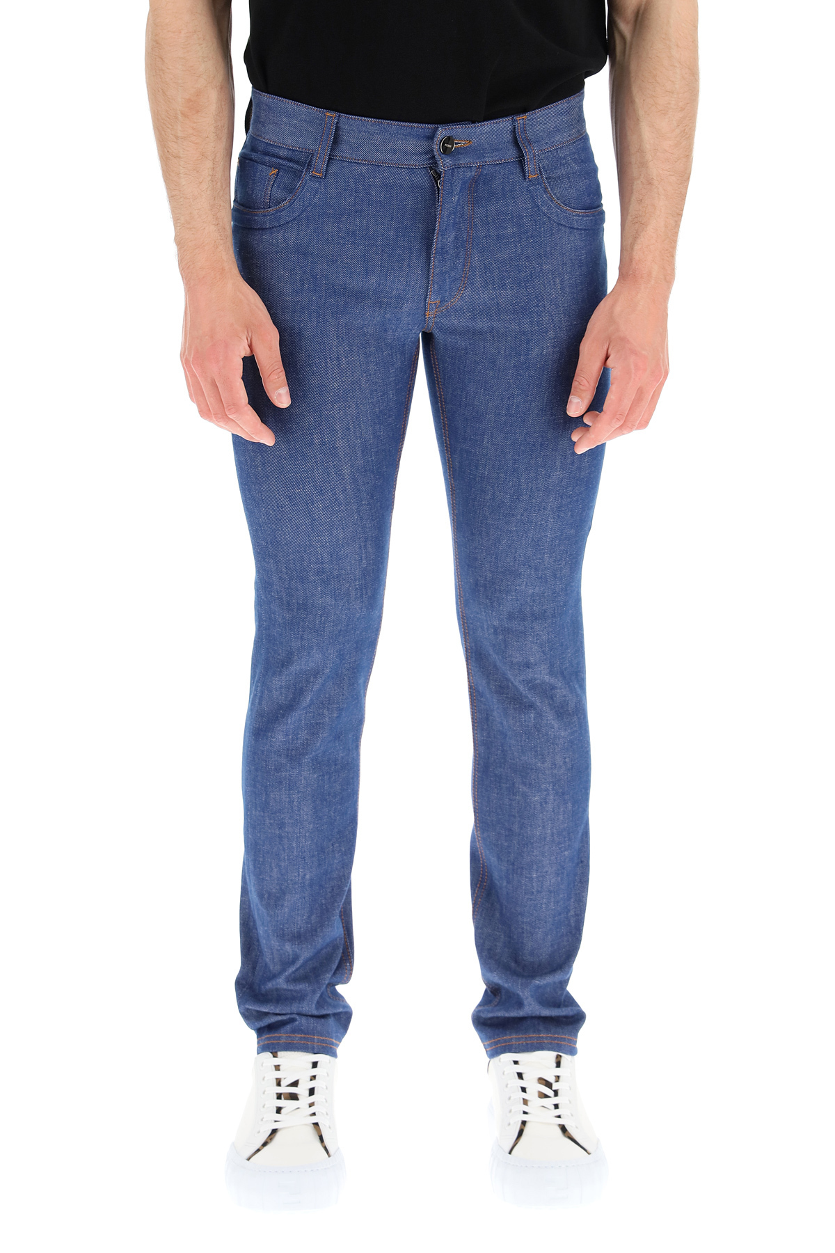 Fendi jeans con logo goffrato