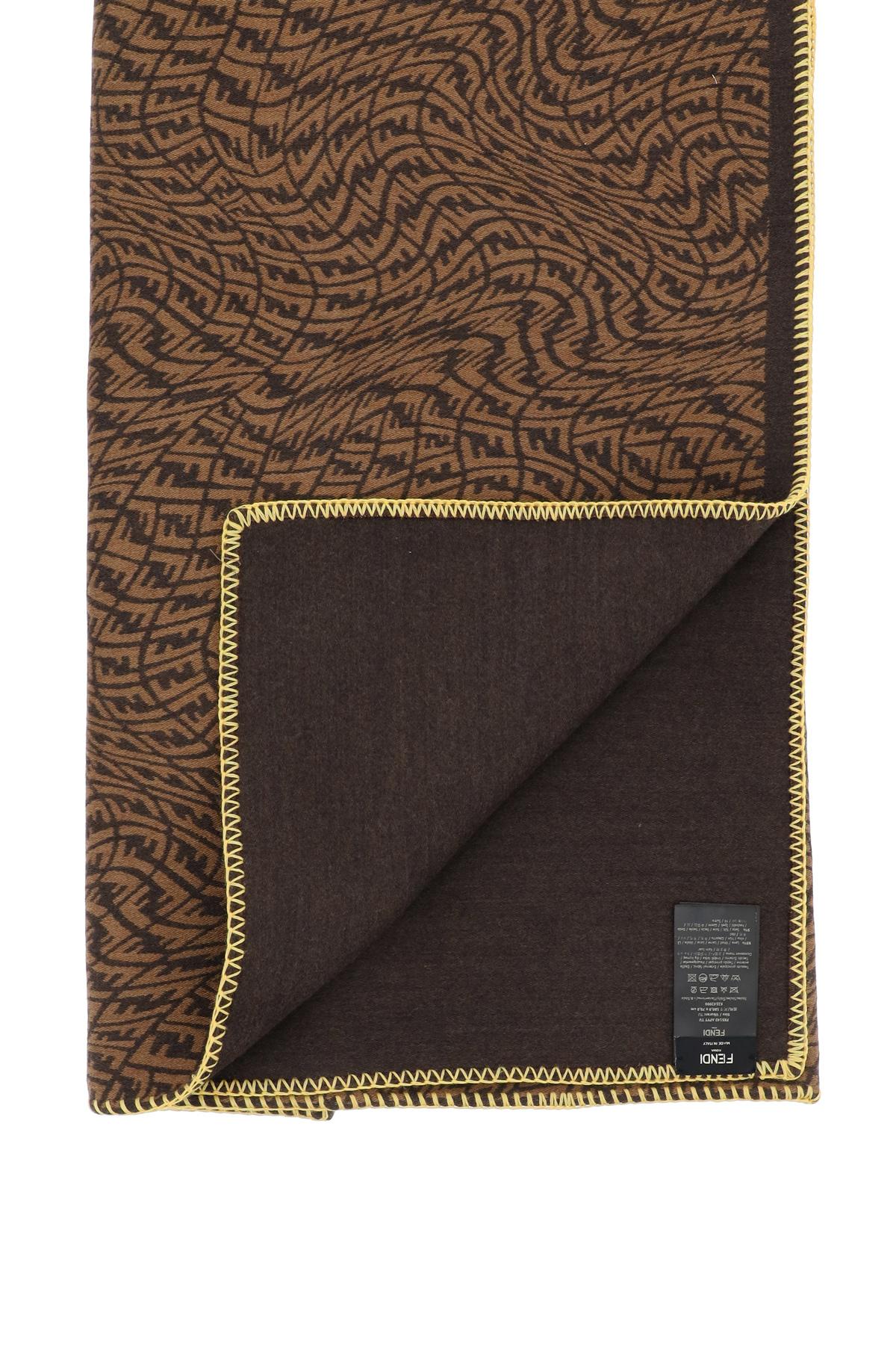 Fendi sciarpa reversibile in lana e seta