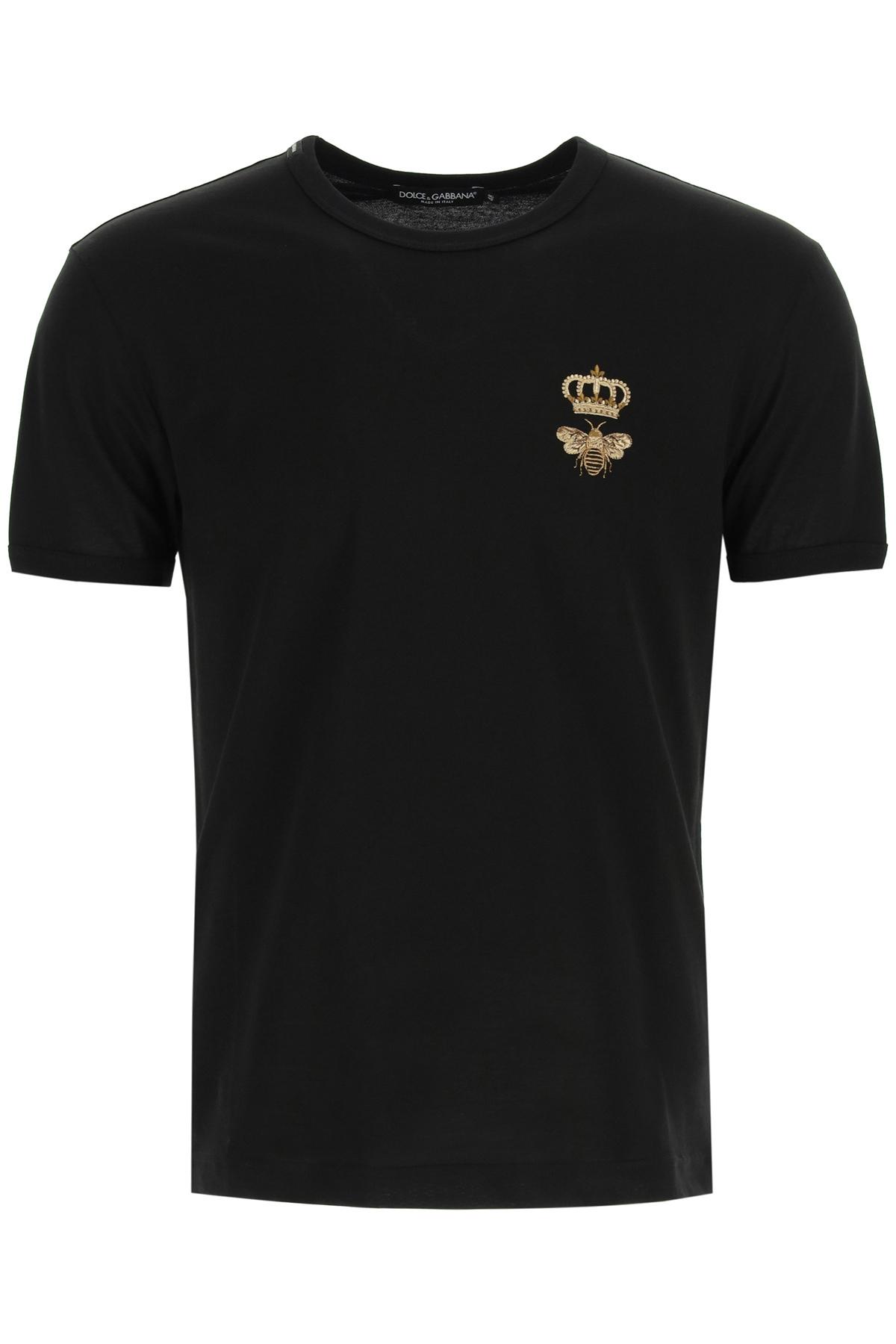 Dolce & gabbana t-shirt con ricamo ape e corona in lurex