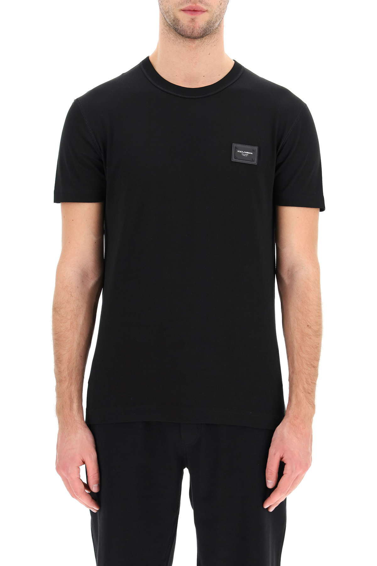 Dolce & gabbana t-shirt cotone con placca logata