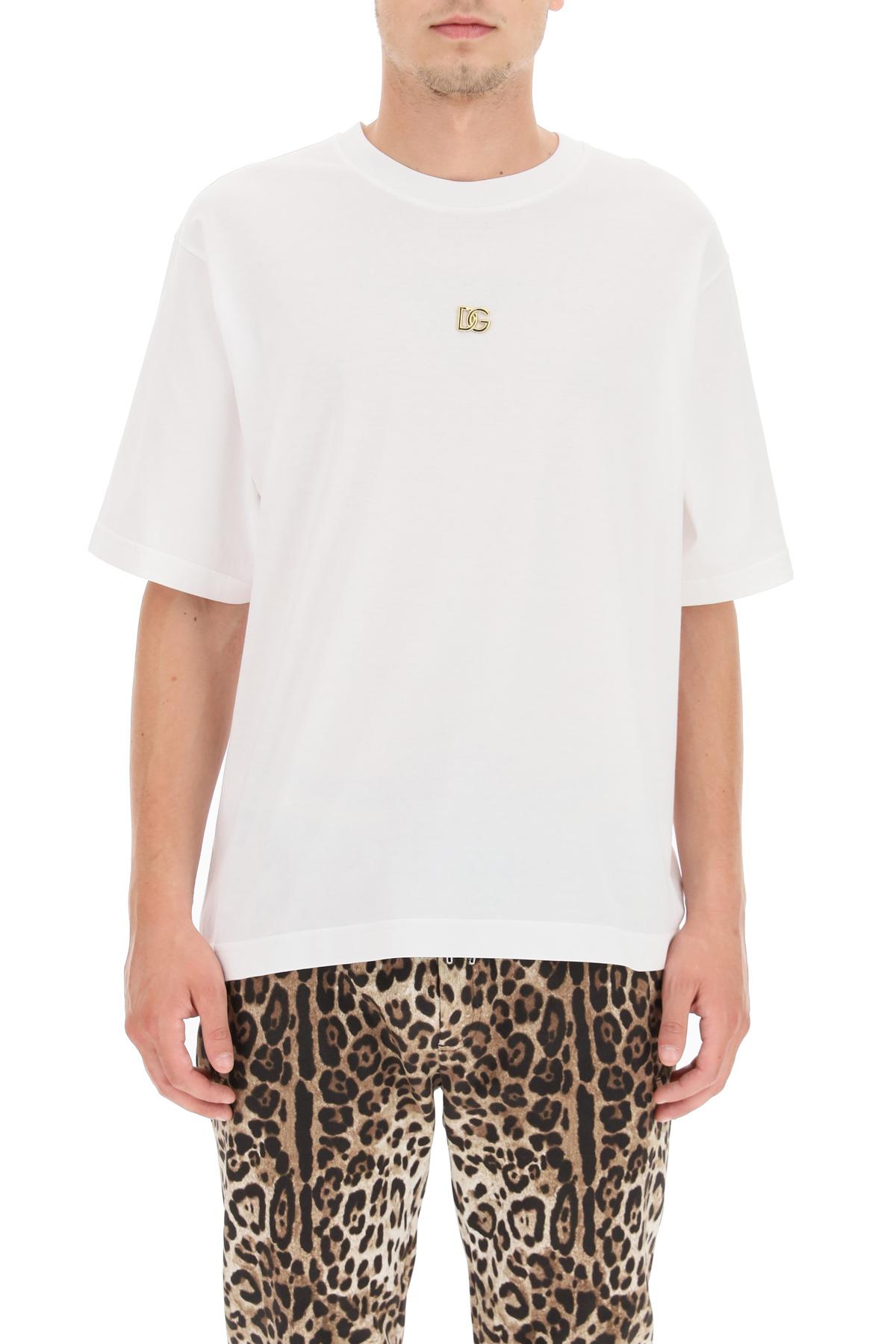 Dolce & gabbana t-shirt con logo dg metallico