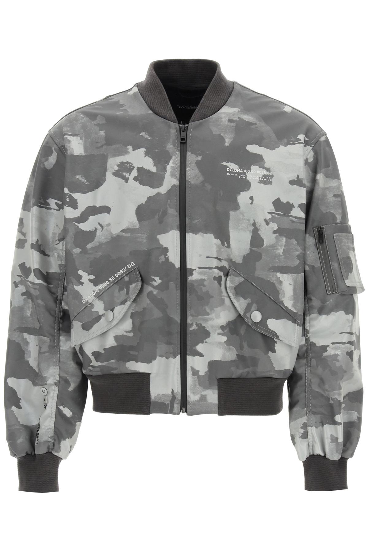 Dolce & gabbana bomber camouflage con logo