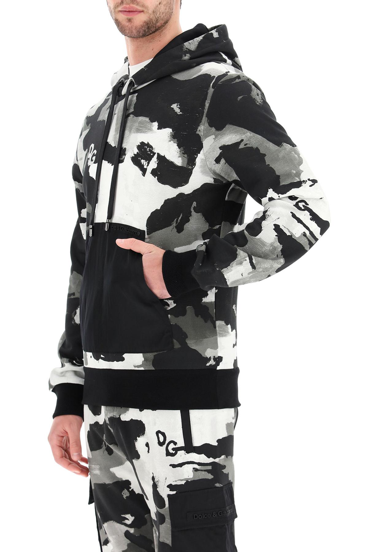 Dolce & gabbana felpa con cappuccio camouflage