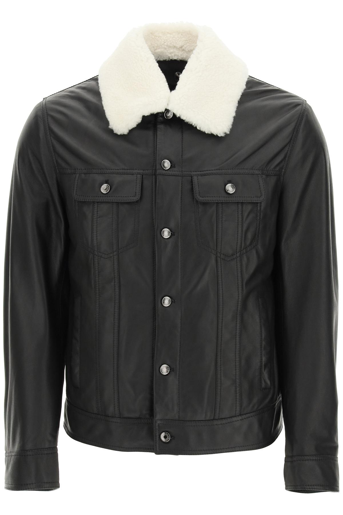 Dolce & gabbana giacca da aviatore in pelle di agnello