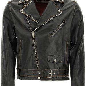 Golden goose giacca biker in pelle con borchie decorative