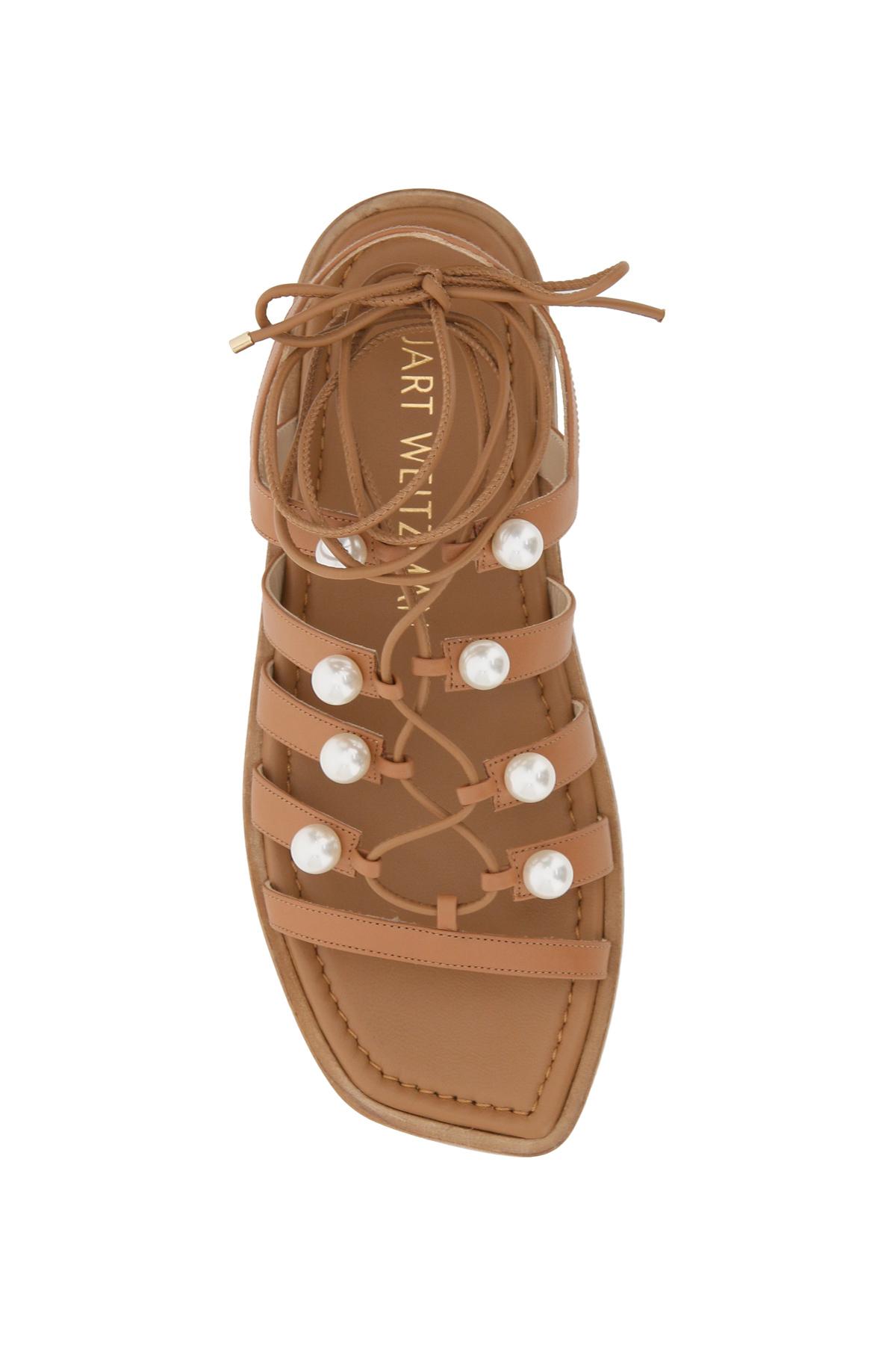 Stuart weitzman sandali goldie lace-up pearls