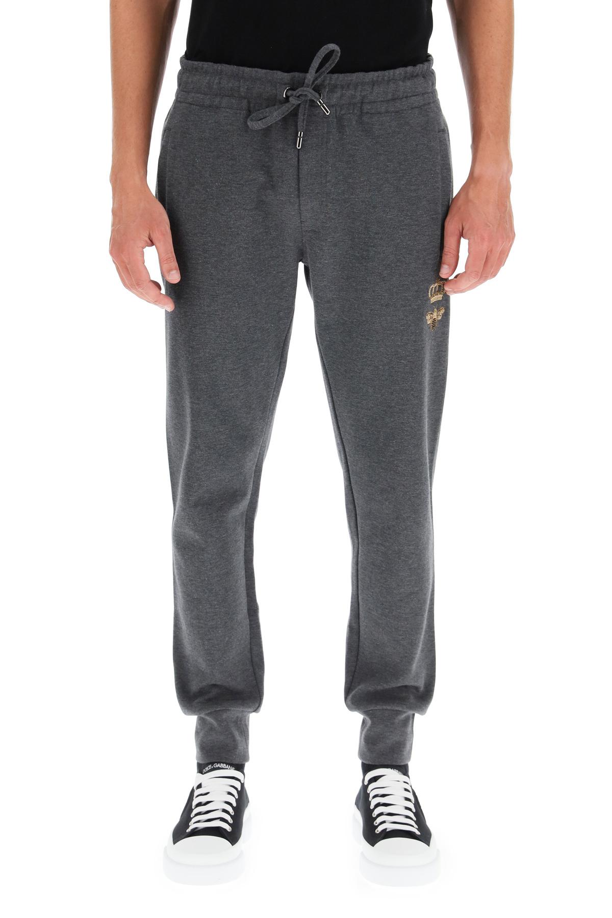 Dolce & gabbana pantalone jogging ape e corona in filo lurex