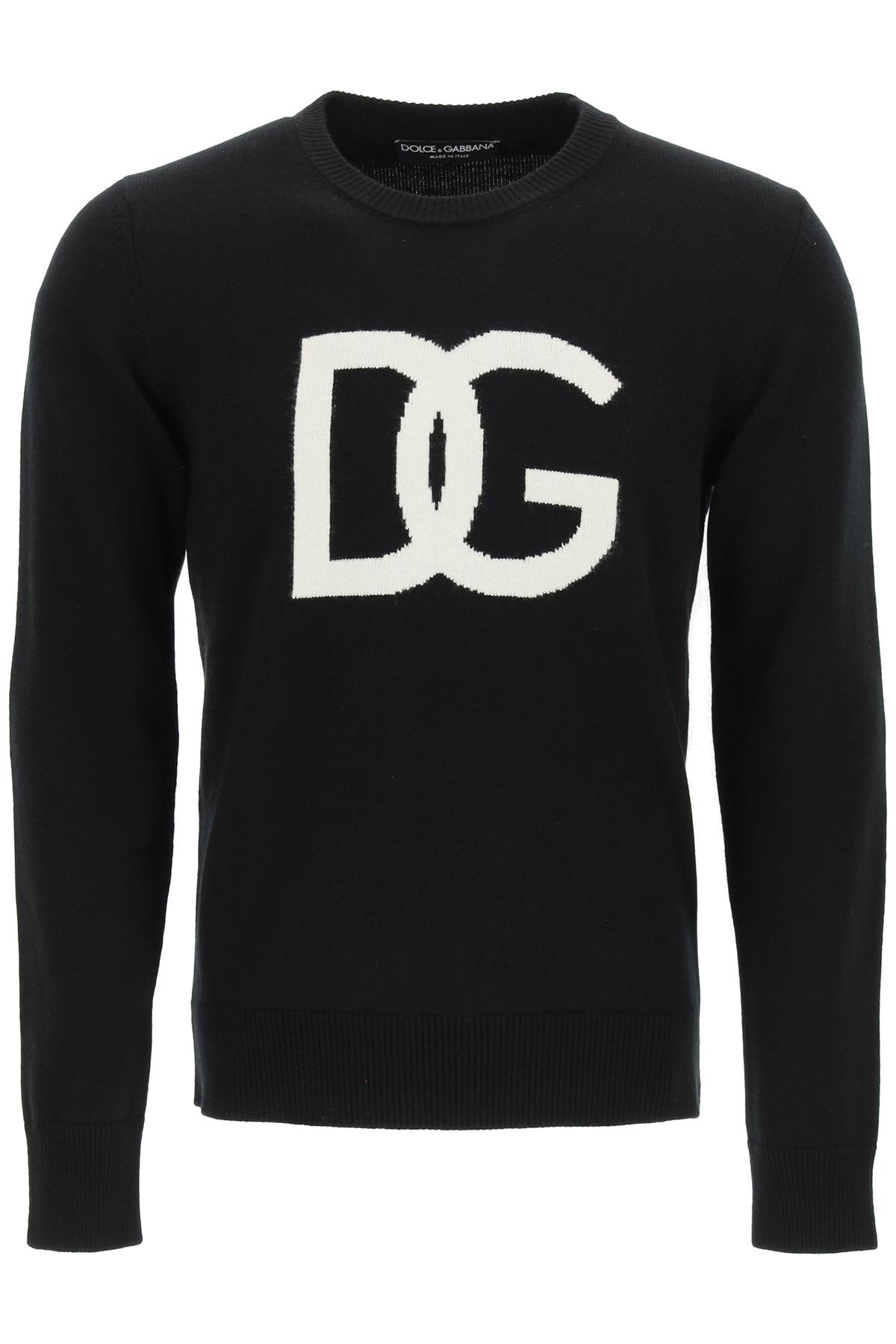 Dolce & gabbana pullover intarsio logo dg