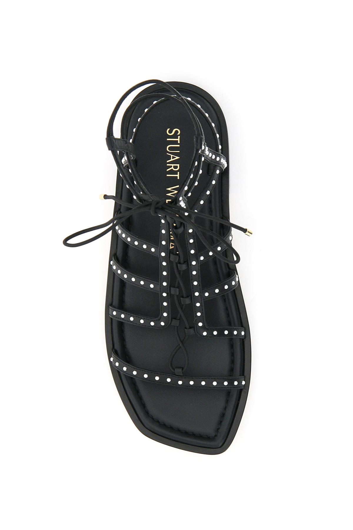 Stuart weitzman sandali gladiatore kora lace up pearls