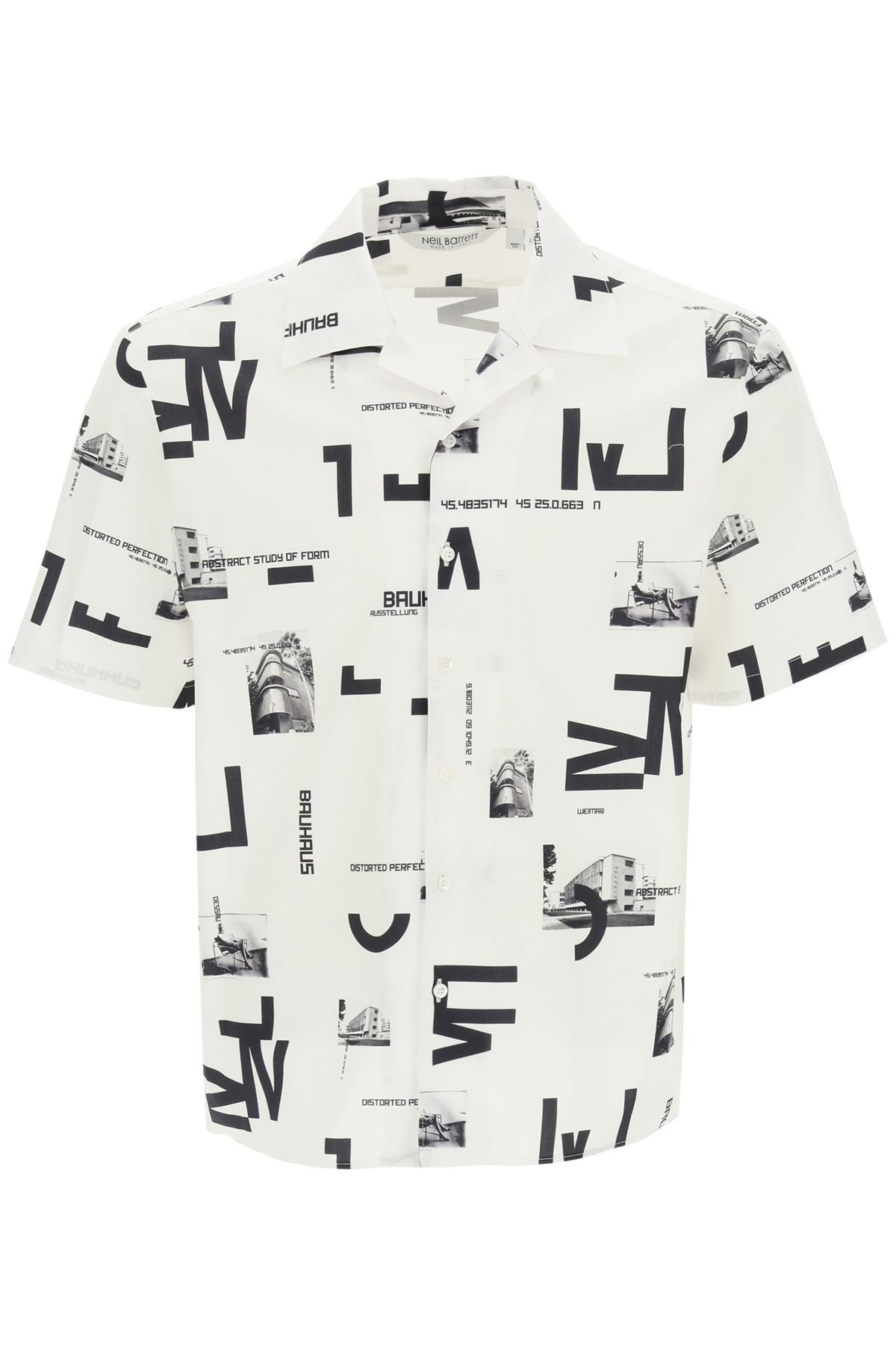 Neil barrett camicia hawaiian stampa bauhaus