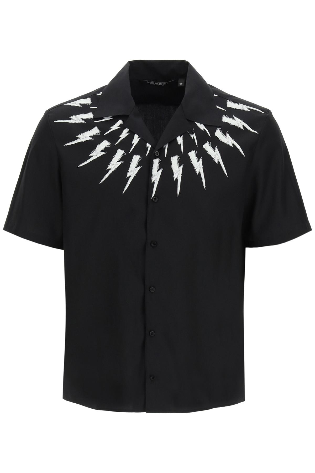 Neil barrett camicia hawaiian fair isle thunderbolt