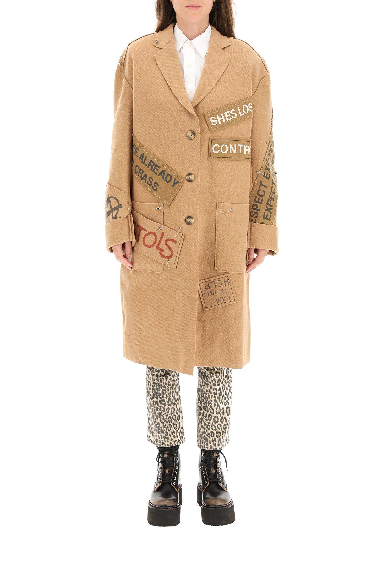 R13 cappotto graffiti in lana