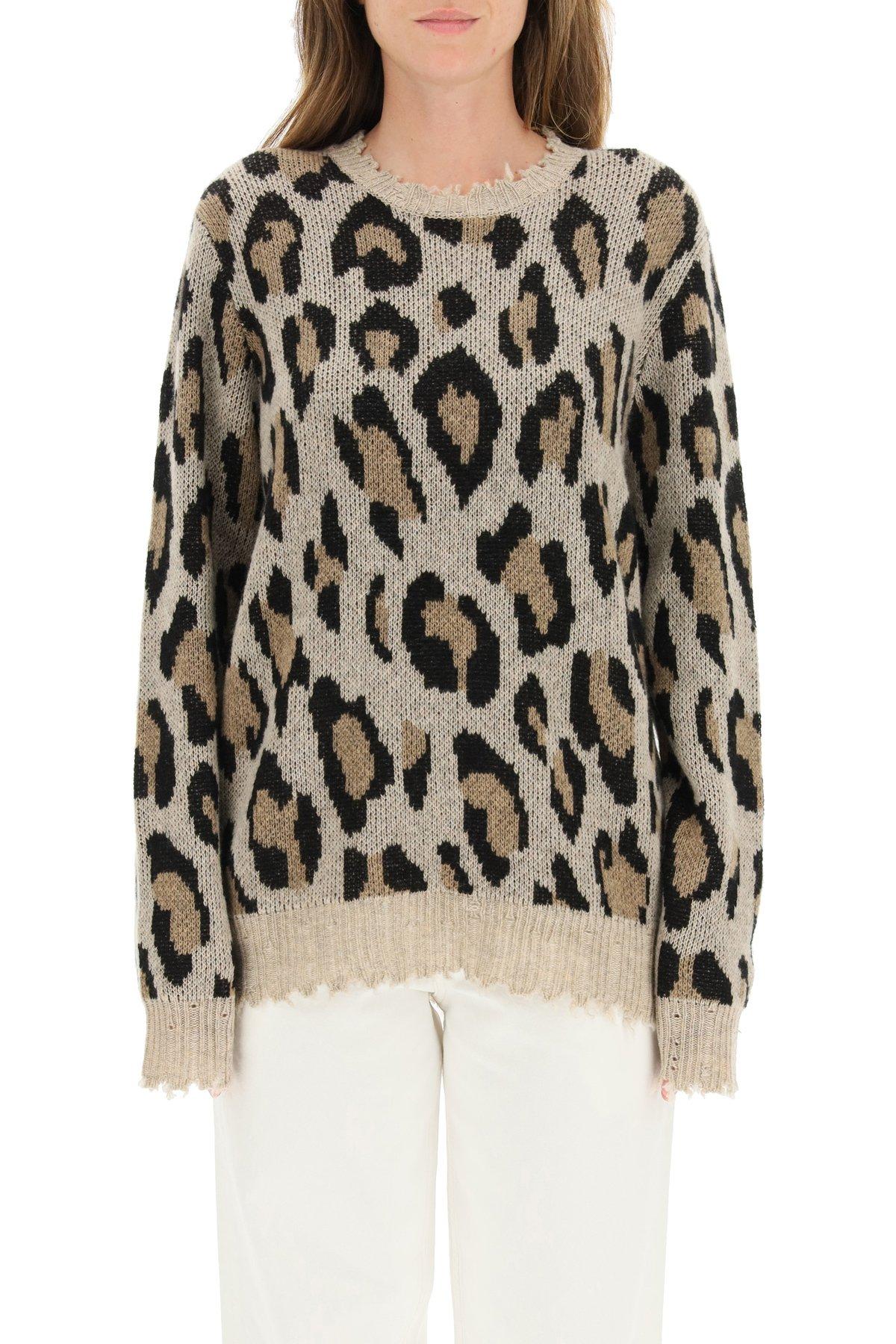 R13 pullover cachemire leopard