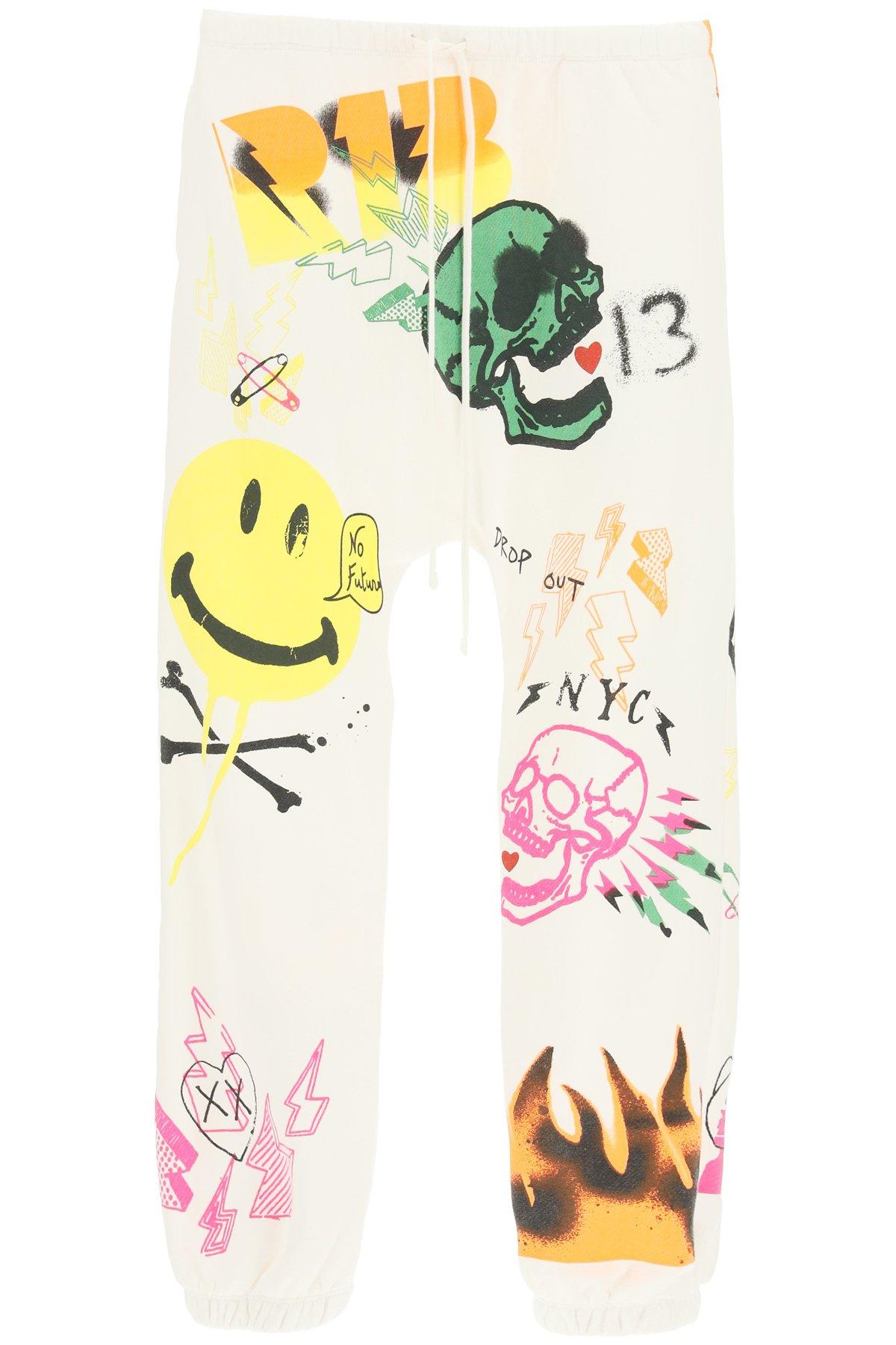 R13 pantalone jogger con stampa graffiti