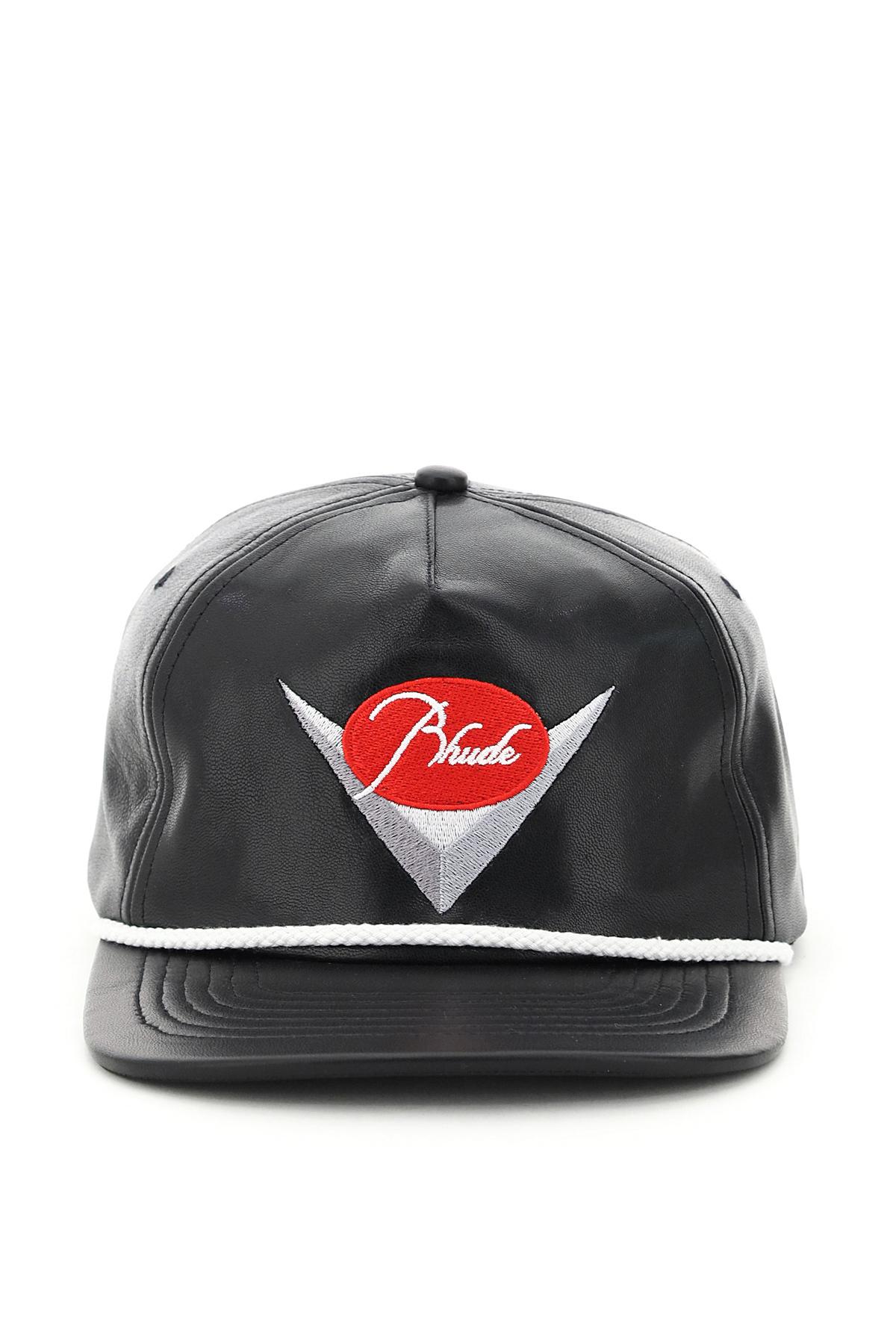 Rhude cappello baseball in pelle ricamo logo