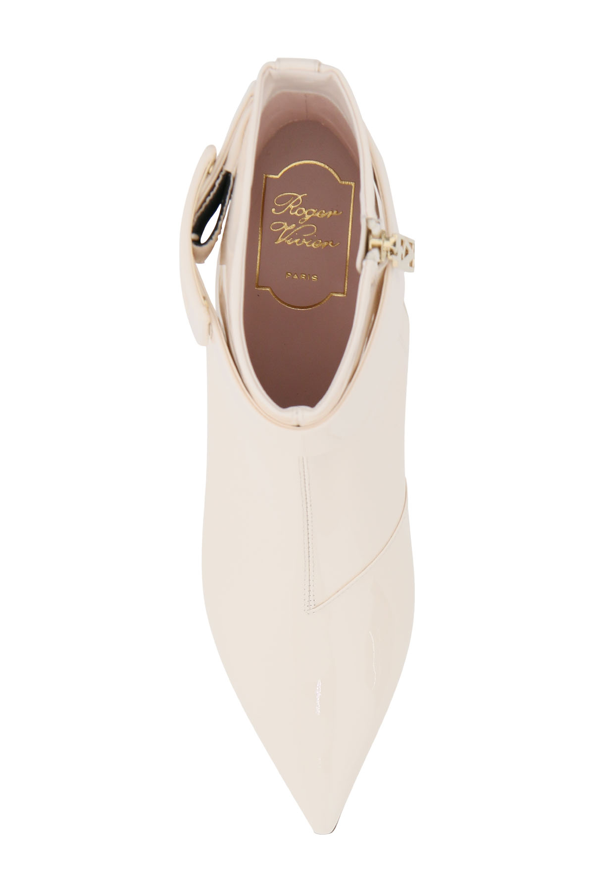 Roger vivier stivaletti in vernice pointy covered buckle