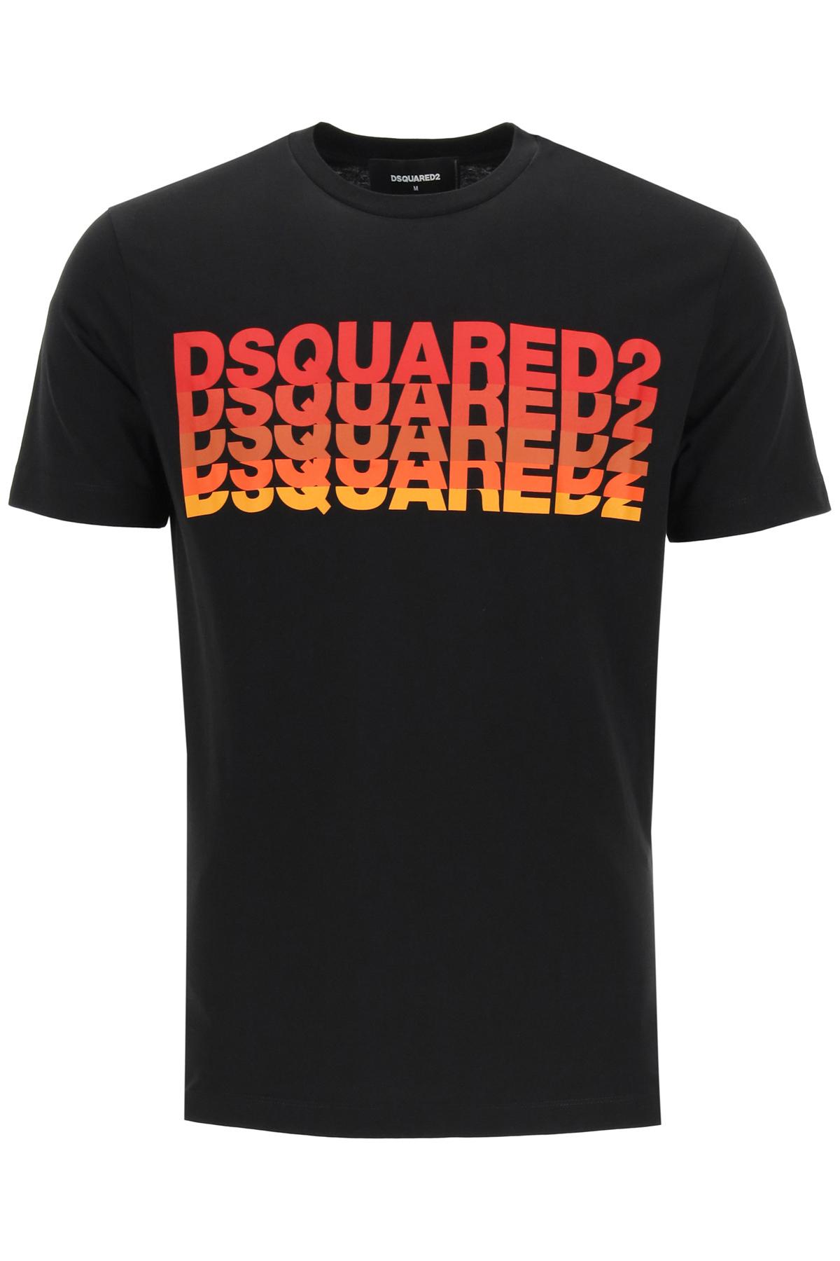 Dsquared2 t-shirt stampa multilogo dégradé