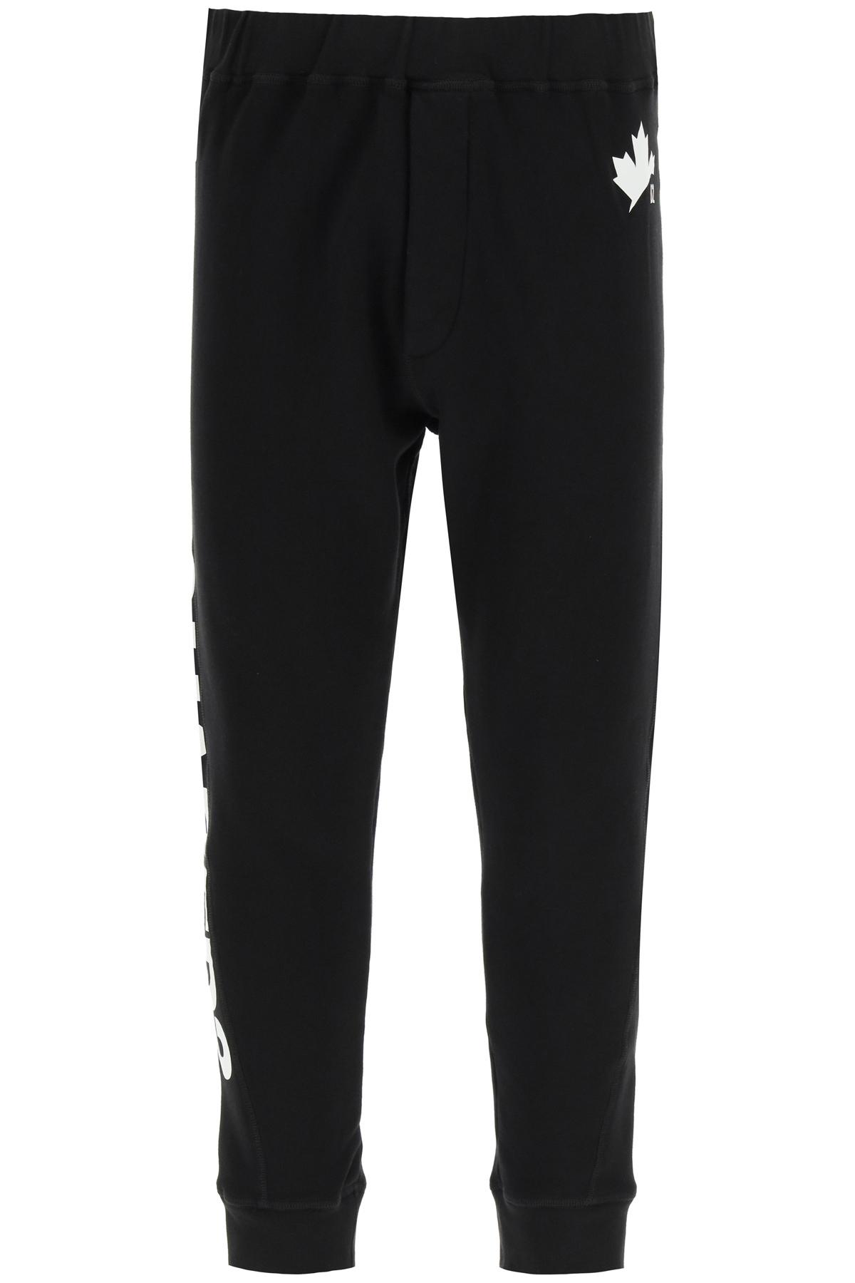 Dsquared2 pantaloni jogger con stampa d2 leaf