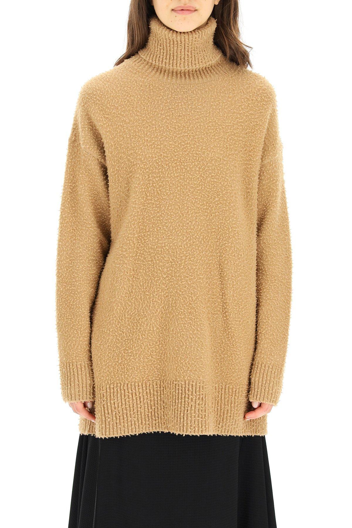 Sportmax pullover collo alto in lana e angora