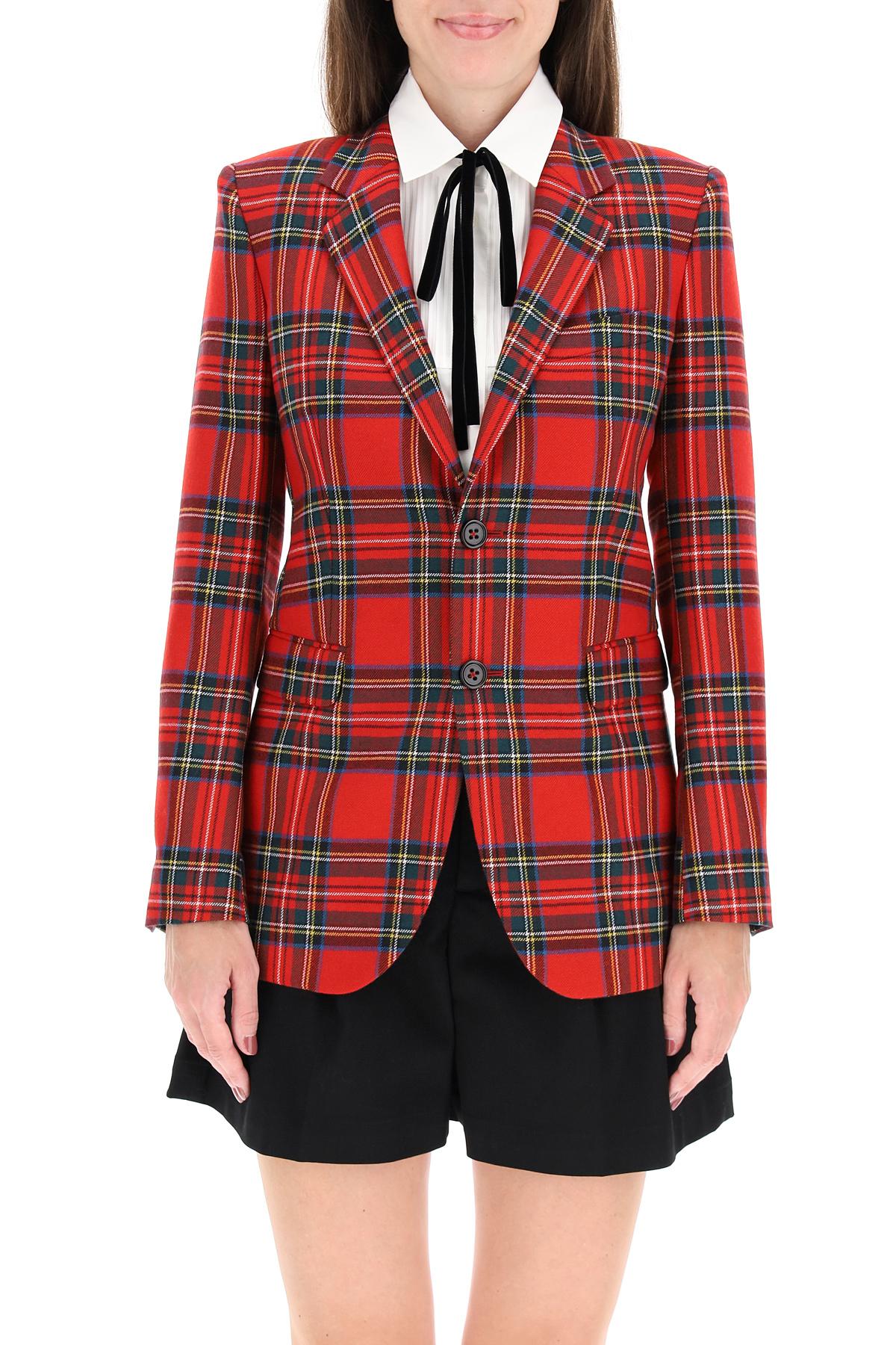 Red valentino giacca in lana tartan