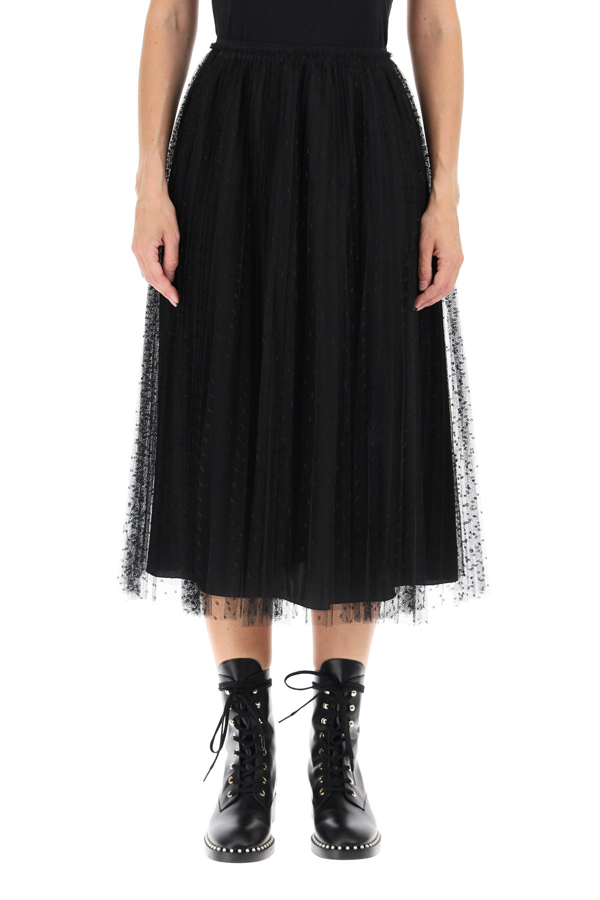 Red valentino gonna plissé in tulle point d'esprit