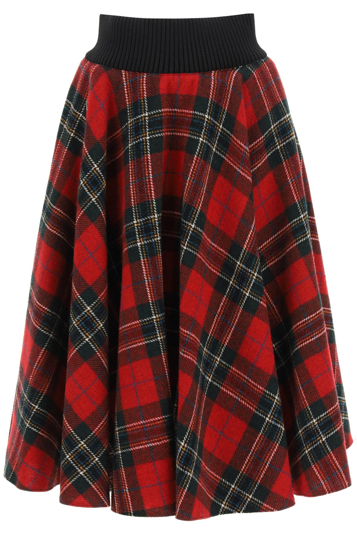 Red valentino gonna midi in lana tartan