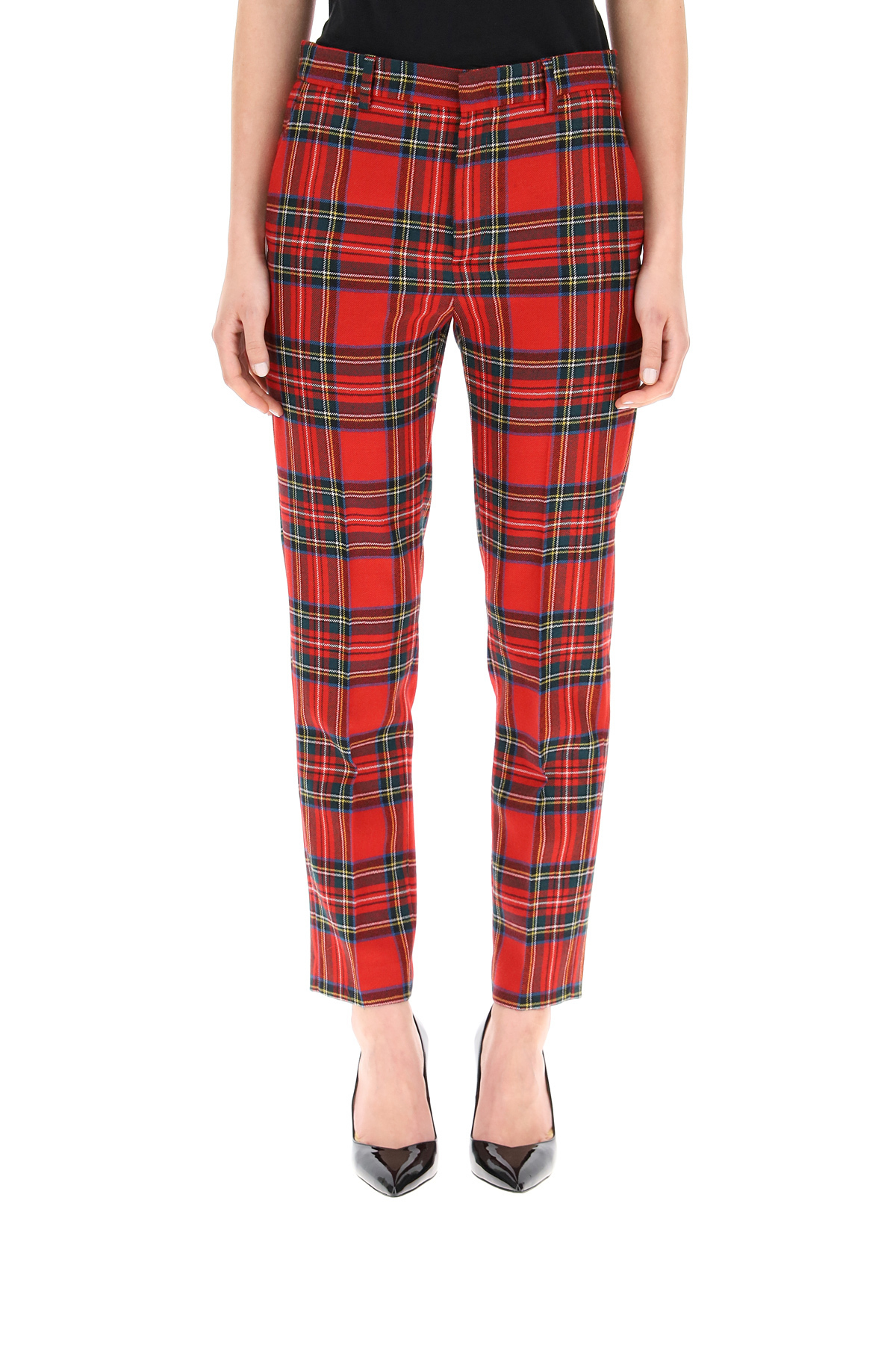 Red valentino pantalone in lana fantasia scozzese