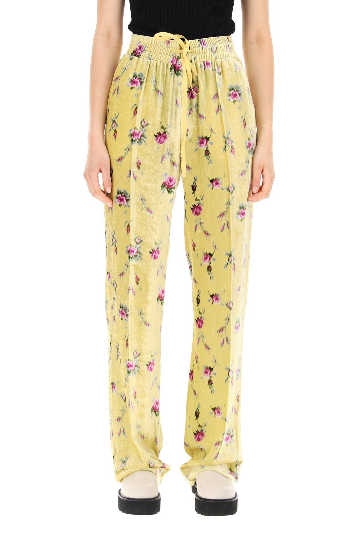 Red valentino pantaloni in velluto stampa sweet roses